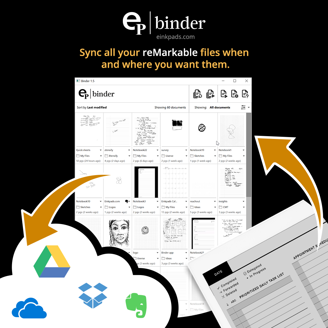 Sync your documents with your cloud of choice. Works perfectly with google drive, iCloud, DropBox and more.
